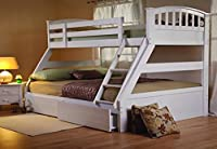 Sweet Dreams Epsom White Triple Bunk Bed Include Underbed Drawers Plus 3ft and 4ft6 Mattresses
