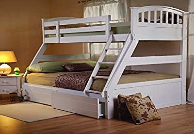 Furniture Expressions Sweet Dreams Epsom White Triple Bunk Bed Underbed Drawers Included + 4ft6 Reflex Mattress