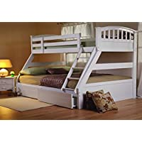 Furniture Expressions Sweet Dreams Epsom White Triple Bunk Bed Include Underbed Drawers Plus 3ft 4ft6 Mattresses