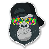2 x Cool Gorilla Vinyl Stickers Decal Laptop Car Bike Helmet Ape Monkey #6696