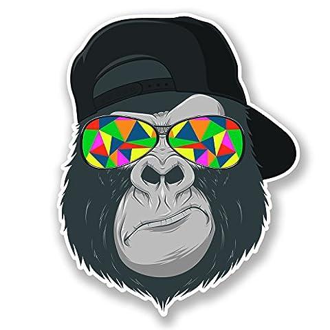 2x voiture cool Gorilla Stickers muraux en vinyle autocollant pour ordinateur portable casque de vélo Ape Singe # 6696 - 8cm Wide x 10cm Tall