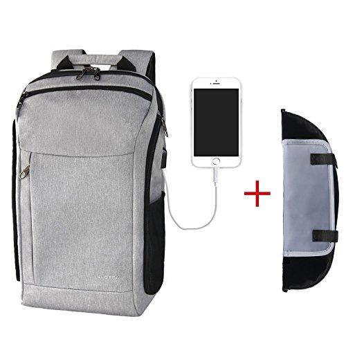 Imagen de slotra equipaje  con cable usb vuelo aprobado cabina aprobado equipaje de mano para viaje de negocios  de viaje con compartimento para portátil 15.6 17 pulgadas cámara carcasa 25l gris