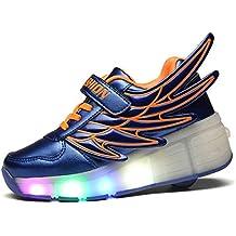 ECOTISH Niños Niñas Estilo ala Zapatillas con Ruedas LED Sola Ronda Para Skate Zapatos Deportivas con Luces Niños Zapatos Zapatillas intermitentes