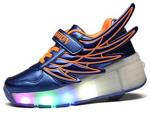 ECOTISH Deportivas Azul Metalizado y Naranja con Luces LED Niño