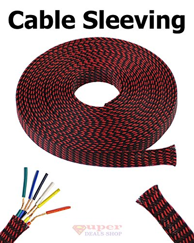 "3/8"" Expandable Wire Cable Sleeving Expandable Braided Sleeving Braided Cable Sleeve Expandable Braided Cord Sleeve Cord Managment Super-Deals-Shop (10 FT"