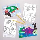 Baker Ross- Dibujos de dinosaurios para decorar con arena y exhibir (Pack de 8) - Actividad de manualidades infantiles