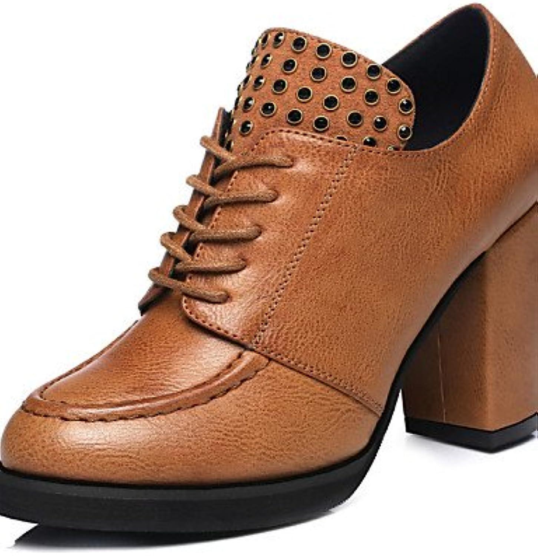 ZQ Zapatos de mujer - Tacón Robusto - Tacones / Comfort - Tacones - Exterior / Casual - Sintético - Negro / Marrón...