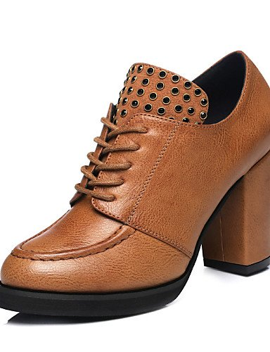 ZQ Scarpe Donna - Scarpe col tacco - Tempo libero / Casual - Tacchi / Comoda - Quadrato - Sintetico - Nero / Marrone , brown-us8 / eu39 / uk6 / cn39 , brown-us8 / eu39 / uk6 / cn39 black-us8 / eu39 / uk6 / cn39
