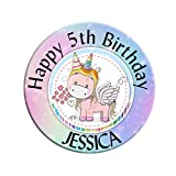 Large 75mm Personalised Rainbow Unicorn Happy Birthday Badge N12 *Select from 3 Backing Choices - Pin Back/Magnet Back/Mirror Back Girls Gift 1st 2nd 3rd 4th 5th 6th 7th 8th 9th 10th Any Age