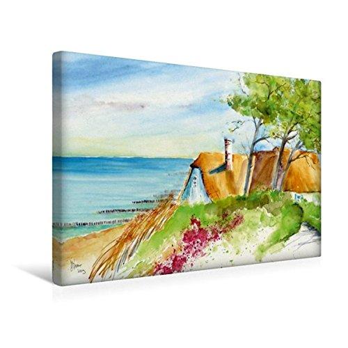Calvendo Premium Textil-Leinwand 45 cm x 30 cm Quer, Ein Motiv aus Dem Kalender Aquarelle - Fischland-Darß   Wandbild, Bild auf Keilrahmen, Fertigbild auf Echter Leinwand, Leinwanddruck Natur Natur