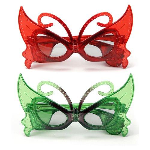 MECO Blinkende LED Brille Maske Blinkbrille Party Karneval Schmetterling Leuchtbrille Rot/Gruen