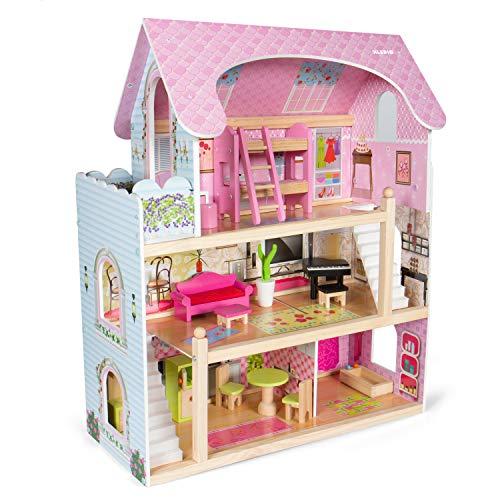 Kledio Casa di Bambole in Legno per Bambini e Bambine dai 3 Anni in Su - Legno FSC® 100%, incl. Accessori da 16 pz