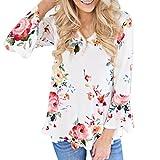Kavitoz Damen Loose Fit Bluse Chiffonshirt Bunt Blumen Druck V-Ausschnitt Langarm Shirt Oberteil Tops (3XL, Weiß)