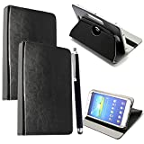 "Colourful Stuff 10inch Tablet Case Cover - Universal Leather Stand Case Folio Cover Magic Leather 360� Rotating Case Fits for ALL 10"" Inch & 10.1"" Inch Android Tablets tab + Free Stylus Touch Pen (BLACK CASE COVER)"