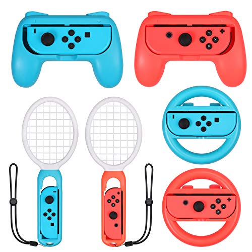 ESYNiC 3 1 Impugnature Volanti Racchette da Tennis per Nintendo Switch Joy Con Kit Accessori 2 Custodie per Controller 2 Racchette Tennis per Mario