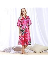 9a3dbc5b2 Minyine Ropa de Dormir Peacock Albornoz Albornoz Sexy Cardigan simulación Seda  Pijamas Verano Verano Servicio a
