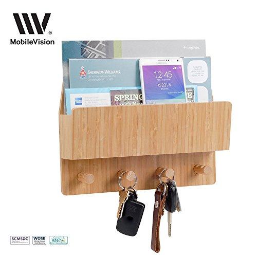 Brief-fach Klar (mobilevision Bambus Mail & Buchstabe Wandhalterung Organizer mit Schlüssel Haken für Eingänge, Diele, Büro, Küche und mehr)
