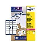 Avery (L7160) Étiquettes autocollantes pour adresse postale (Amazon FBA), imprimantes laser, 21 étiquettes par feuille A4, 2100 étiquettes, UltraGrip...