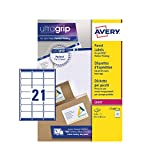 Avery Etiquetas autoadhesivas para dirección de correo (etiquetas de código de barras de Amazon FBA), impresoras láser, 21 etiquetas por hoja A4, 2100 etiquetas, UltraGrip (L7160)