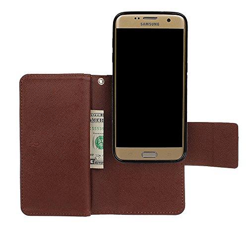 xhorizon MW8 Premium Leder Folio Case [Brieftasche] [Magnetisch Abnehmbar] Uhrarmband Geldbeutel Flip Mehrere Kartensteckplätze Vogel Hülle Tasche für Samsung Galaxy S7 Edge mit einer KFZ Halterung Beige mit einer schwarzen Auto Halterung