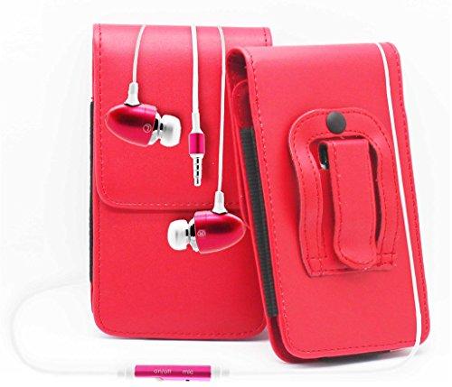 Rot / Red HTC Desire 500 Gürteltasche Handy Holster mit magnetischem Verschluss aus PU-Leder Schützhülle Cover mit sicherem Gürtelclip und 3,5mm Stereo-In-Ohr-Kopfhörern von Gadget Giant®