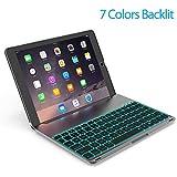 OBOR Aluminiumlegierung iPad 9.7/ipad Air Keyboard Case - 7 Farben Hintergrundbeleuchtung Flip Wireless Bluetooth Tastatur Schützende Shell für 2017 Apple iPad 9,7''/iPad Air (Schwarz)