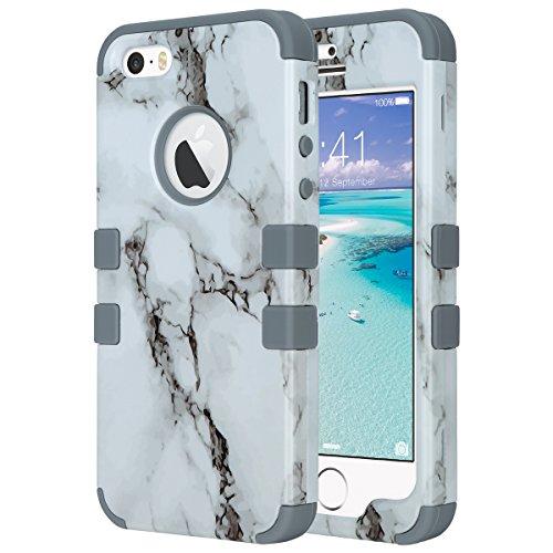 ULAK - Cover per iPhone 5S , iPhone SE / 5 Custodia ibrida a protezione integrale con parte esterna in 3 strati di morbido silicone e interno rigido per Apple iPhone 5S /5 /SE -Nero Marmo