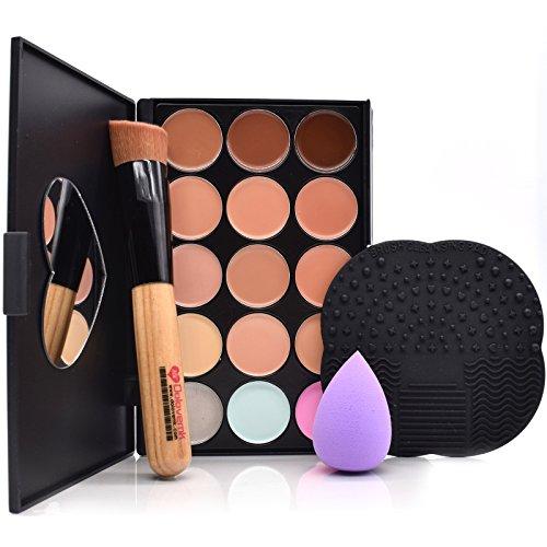 Dolovemk kit de maquillage Palette de Correcteur, souligner avec miroir + Brosse de Maquillage + éponge + Nettoyage Pad
