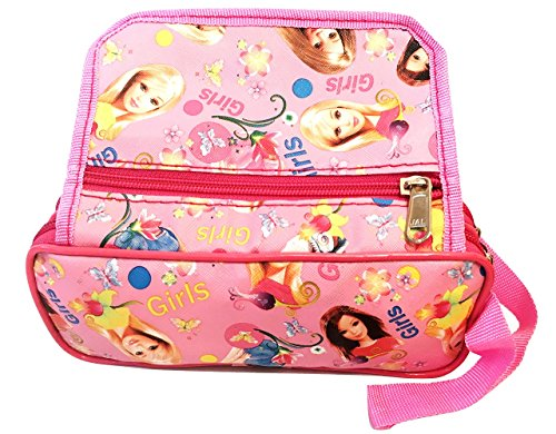 Akisha Multi Purpose Barbie Pencil Pen Case Storage Pouch Bag With Three Zip Pocket For Girls (Pink)  available at amazon for Rs.299