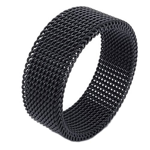 Screen Mesh Bandring - SODIAL(R)Schmuck Herren-Ring, Damen-Ring, Edelstahl, Flexible Screen Mesh Bandringring, Schwarz - Gr. 54 -