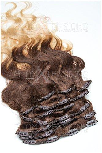 Clip In Extensions Ombré/Balayage gewellt 10 Tressen - 100% Remy Echthaar 100g 50cm Ombre Clip in Hair Extension 04-613 Schokobraun - Helllichtblond
