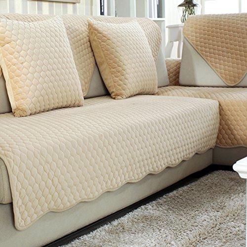 HM&DX Plüsch Sofa Abdeckung Für sektionaltore Couch, Weiche warme Multi-größe Anti-rutsch Sofa Überwurf Furniture Protector Wohnzimmer -Gelb 70x180cm(28x71inch)