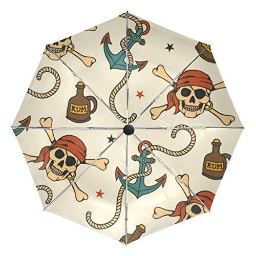XiangHeFu Regenschirm Crossbone Pirate Skull Anchor Auto Öffnen Schließen 3 Falten Lightweight Anti-UV