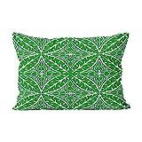 Skully, Heißer Kissenbezug mit marokkanischen Fliesen, Smaragdgrün und Weiß, Versteckter Reißverschluss, dekorativ, rechteckig, Seide, Color 01, 20