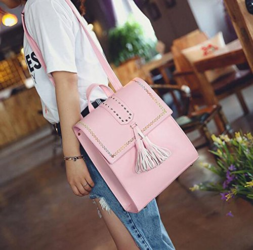 QPALZM Frauen Rucksäcke Mädchen Casual PU Schule Taschen Spiraea Mode Gesäumten Nieten Pink