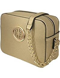 S039 Women Fashion Textured Faux Leather Crossbody Messenger Chain Strap Shoulder Bag (Gold) By Solene