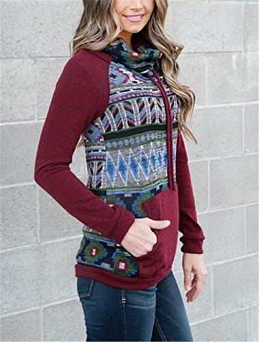 Gogofuture Femme Turtle Neck ElÉGant Imprimé Sweatshirt Manches Longues Grande Taille Décontractée Manteau Tops à Sweats Casual Pullover Loose red