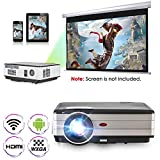 Proiettore video HD WiFi HDMI 6.0 Android , Support 1080P 720P Wireless Screen Cast App Now TV, LCD LED Home Theater Cinema Projecteur for Gaming Sports Outdoor