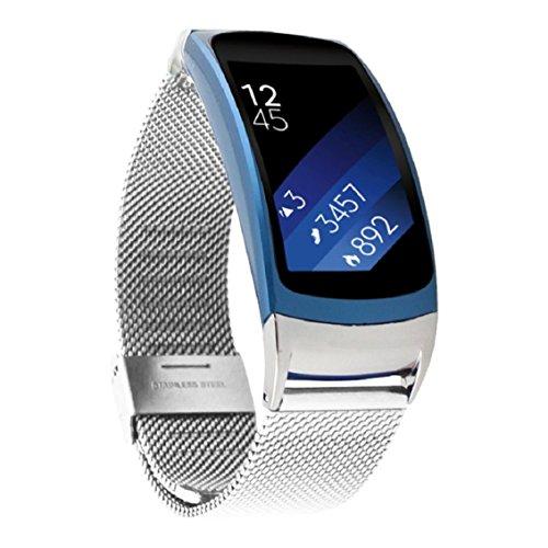 Samsung Gear Fit 2 SM-R360 Armband, OverDose Fashion Milanese Edelstahl-Band für Samsung Gear Fit 2 SM-R360 (Silber)