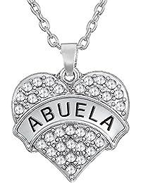 Lovely Forme de cœur avec Abuela gravé Pendentif Collier pour Grand-mère Cadeau Bijoux