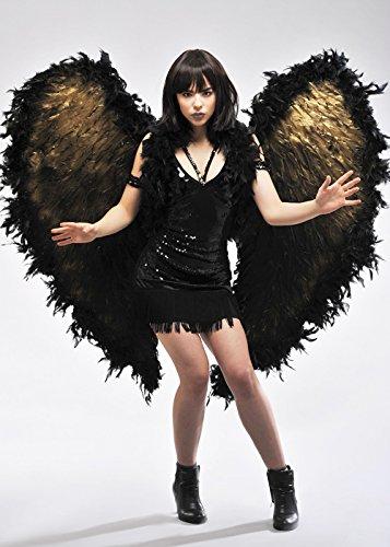 Deluxe Extra große schwarze und Goldfeder-Engels-Flügel (Extra Große Kostüm Engel Flügel)