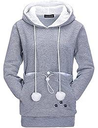 Leslady Damen Schwarz Kapuzenpullover Sweatshirt Kangaroo Carrier für kleine Katze Hunde Schwarz Grau Große Tasche Hoodie