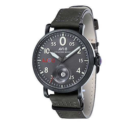 AVI-8 Men's Special Edition Quartz Lancaster Bomber with Grey Dial and Grey Leather Strap AV-4049-04