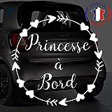 Sticker bébé à bord pour voiture Princesse à Bord Flèches et Coeurs 15 cm Blanc...