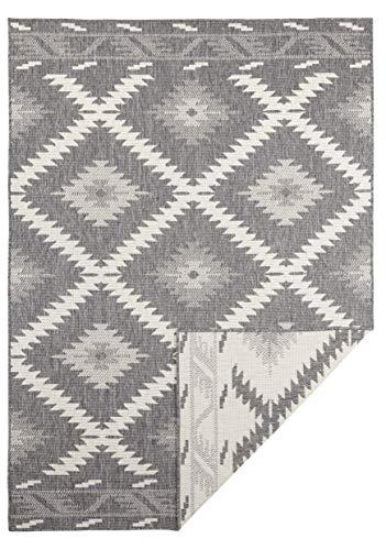 bougari In- & Outdoor Wendeteppich Malibu Grau Creme 80x250 cm