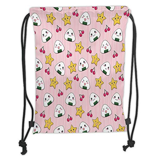 Juzijiang Drawstring Sack Backpacks Bags,Anime,Happy Crying Cute Cartoon Rice Balls Cherries Stars Pattern on Stripes Art,Pink Yellow and White Soft Satin Closu,5 Liter Capacity,Adjustable.