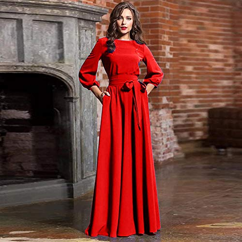 JDSXXZ Rundhals langes Kleid Bohème Exquisite Retro Laterne Ärmel DREI Jahreszeiten Ärmel lässige Kleidung Kleid, XL, rot B