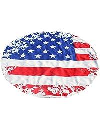 Cebbay-Toalla de playa Redonda Bandera Americana de impresión Estilo Mandala Indio, Boho Hippie