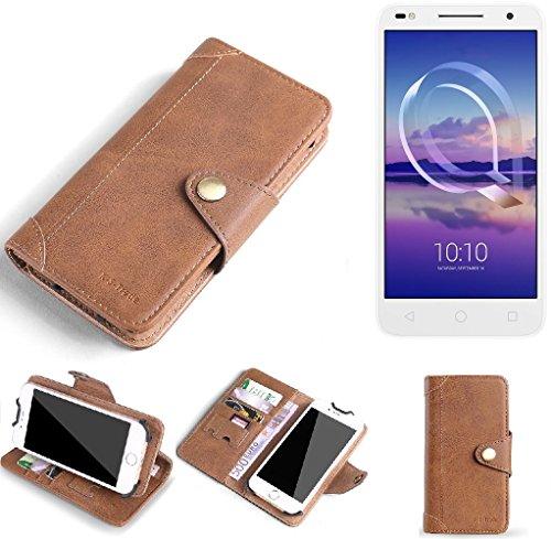 K-S-Trade Hülle für Alcatel U5 HD Dual SIM Schutz Hülle Tasche Handyhülle Schutzhülle Handytasche Wallet case Flipcase Cover Kunstleder Braun