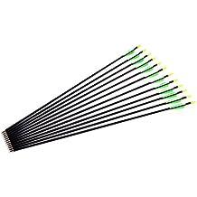 """CLE DE TOUS- 12pcs 28"""" / 30"""" / 32"""" (74cm / 79cm / 84cm) Flechas de Fibra de Vidrio Carbón para Tiro con Arco Recurvo 3 Colores Elegible (Verde y Blanco, 32"""" / 84cm)"""